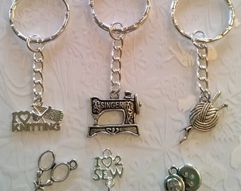 Singer sewing machine keyrings~knitting keyrings~seamstress~knitting gifts~bronze~tibetan silver