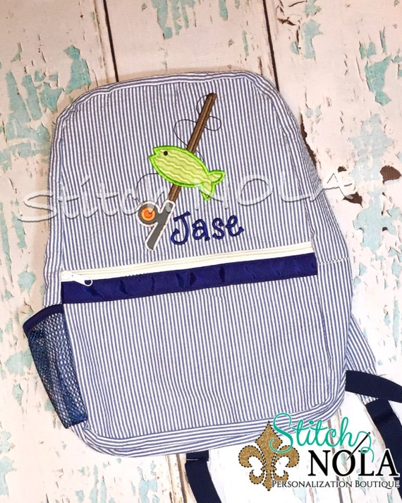 Seersucker Backpack with Fish and Fishing Pole, Seersucker Diaper Bag, Seersucker School Bag, Seersucker Bag, Diaper Bag, School Bag