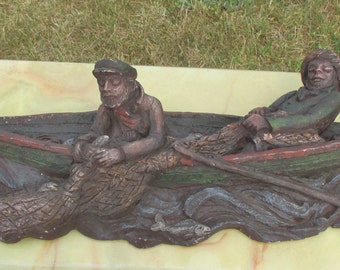 Terracotta Figurine Sculpture Fishermen Boat Fishersboat Dutch Handmade Folk art
