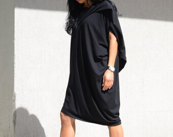 Oversized dress, loose tunic, little black dress, asymmetrical, plus size dresses, boho tunic plus size, short loose dress, loose fit dress