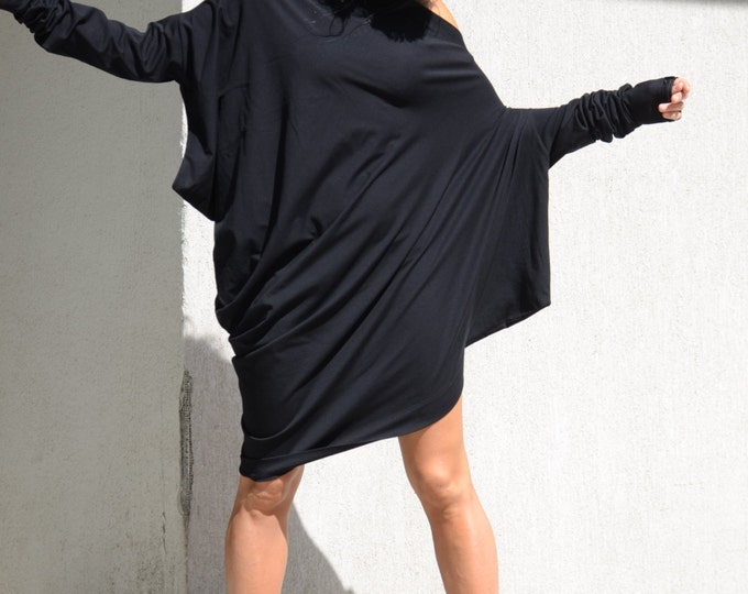 Featured listing image: Off Shoulder Top, loose mini tunic, Asymmetrical Top, Loose Top, loose short tunic, One Shoulder Dress , One Shoulder Top, Party Dress