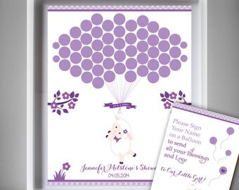 Girl Lamb Guest Book Printable Alternative and Girl Lamb Wall Art for Baby Lamb  Shower DIY Ship  Purple-oz71bs27