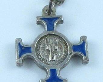 Vintage Silver & enamel religious Pendant and chain - St Benedict