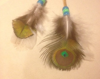 Eye of Peacok hair feather