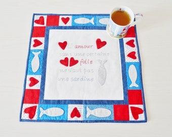 La Sardine tabletop PDF sewing pattern - patchwork tabletop pattern - applique tabletop pattern - valentine pattern - instant download