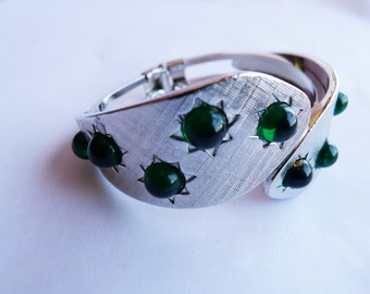 The Moonlite, Green Vintage Inspired Cuff Bracelet