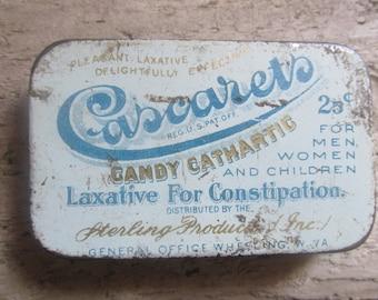 Cascarets Vintage 1930's Tin Vintage Health Product