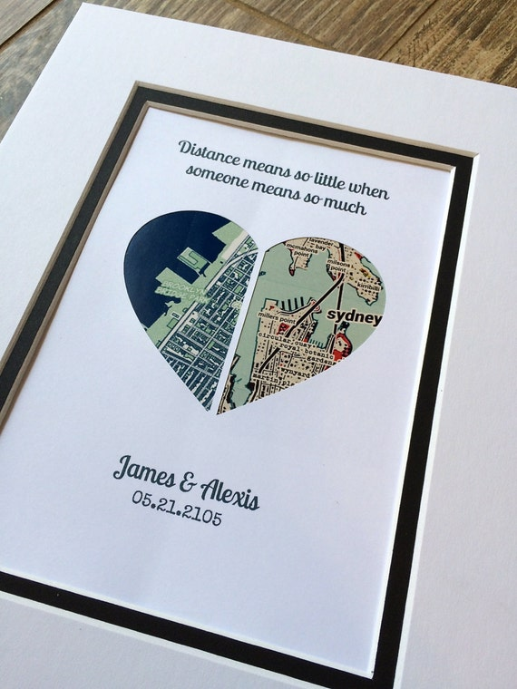 Map Art Wedding Gift : Map Art- First Anniversary or Wedding Gift- Map Heart- One Year 1st ...