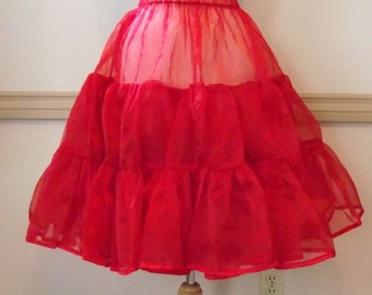 Organza  Retro Pinup Rockabilly Pin Up Petticoat for Halloween Costume Womens Small Medium Large White Red Lilac