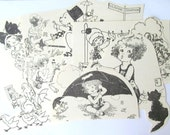 1930s children's book illustrations: pack of 12 large die cut style pictures. Craft supply for scrapbooks, card making, journaling, collage.