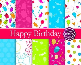 Happy Birthday digital paper pack * with birthday patterns, to use in scrapbooking, card making and backgrounds * Printable Instant