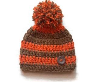 Baby boy hat Crochet baby hat Striped baby hat Pom pom baby hat Orange and brown baby hat Newborn boy hat Baby boy outfit Newborn winter hat