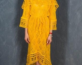 Crochet Yellow Dress, KNITTED lacy Tunic, CROCHETED dress, Crochet Hoodie Tunic,BOHO crocheted Dress LacyTunic Biggin Knitted Tunic