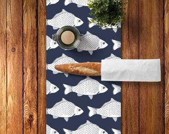 Navy Table Runner, Lake Dining Decor, Fish Table Runner, Lake Kitchen Decor, Fishing Table Runner, Nautical Table Runner, Lake House Decor