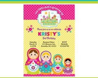 Customized Matryoshka Digital Printable Birthday Invitation
