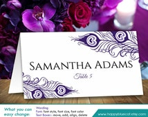"""DiY Printable Wedding Place Card Template - Instant Download - EDITABLE TEXT - Peacock Purple Lavender 3,5""""x2"""" - Microsoft® Word Format H20n"""