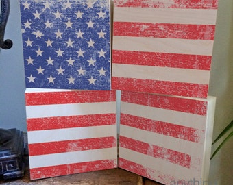 """AMERICAN flag distressed rustic 6 x 6"""" wood block panels-  Home Decor -  4th of July - Memorial Day"""