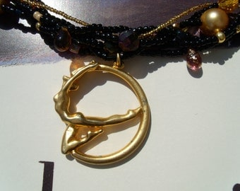 Brass pendant at TOHO Vortex chain necklace Sechsreihig glass beads shell core Pearl gold chain