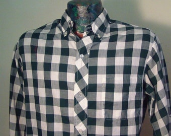 Sharp Men's 50's/60's Long Sleeve 100% Cotton Shirt, With Large Check Gingham Print, Size Bigger Medium, Amazing Condition!!  Like New!!