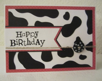 Cow Print Happy Birthday card