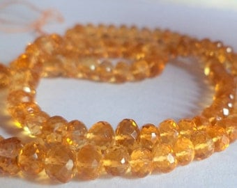 Beautiful AAA Quality Natural Citrine Micro Cutting Faceted beads 5-6 mm 8 inch