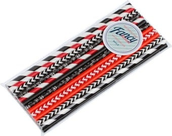 Paper Drinking Straws Pirates Themed Variety Collection - 25 Pack -Free UK delivery