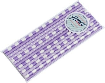 Paper Drinking Straws Lilac Variety Collection - 25 Pack - Free UK Delivery