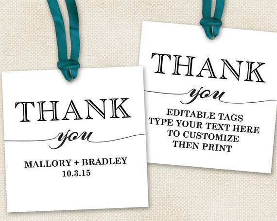 Free Printable Wedding Gift Tags Templates: Thank You Tags For Favors Wedding Tags Showers By