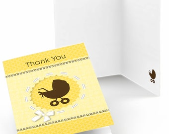 Set of 8 Neutral Baby Carriage Shower Thank You Cards - Baby Shower Party Supplies