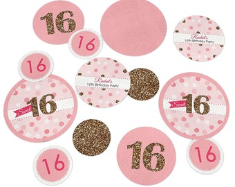 Sweet 16 Birthday Confetti Kit - Extra Large Party Circles for a Birthday Party