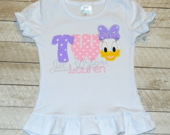 Disney Donald Duck or Daisy Duck Birthday Onesie or Shirt Personalization Monogram available! Your choice of color theme and characters.