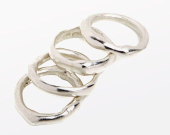 Melted Silver Rings