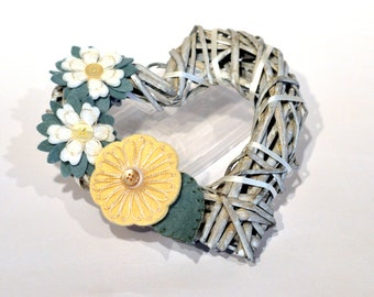 Wicker heart / decorative wreath / floral heart / Yellow and cream heart / Wedding pew ends / alternative to wedding chair covers / home