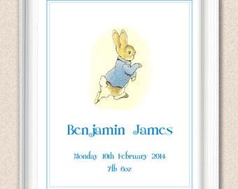Peter Rabbit Personalized New Baby Name Print Beatrix Potter Nursery Print Personalize the Colour A118