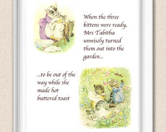 Tom Kitten Beatrix Potter Print Nursery Art Selection of Sizes Available A111