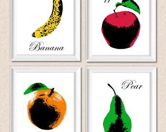 Fruit Print Pop Art Warhol Style Collection Set of 4 Apple, Banana, Pear, Orange Colourful Kitchen Art Decorative Prints Wall Decor A142