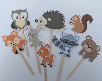 Woodland Cupcake Toppers/Woodland Creatures/Cupcake Toppers/Woodland Party/Woodland Birthday/Woodland Toppers/Forest Animals/Woodland Animal