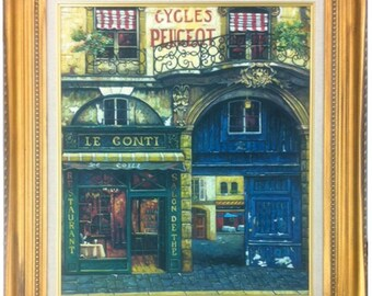 20x24 Oil Painting of a French Restaurant and neighborhood Stretched Only or framed in a large gold wood frame with a linen liner