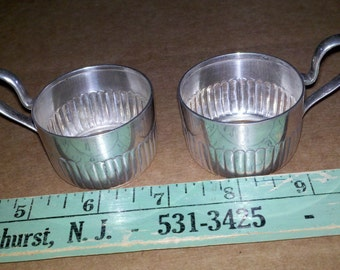 Pair of 800 Silver Demitasse Cup Holder with Crescent and Crown Mark .800 A Silver