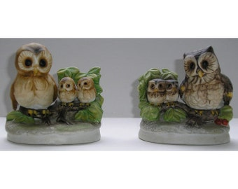 Homco Masked Owls and Brown Scops Owls with Babies Figurines Vintage Collectible Set of 2 Porcelain Bisque Retired 1298