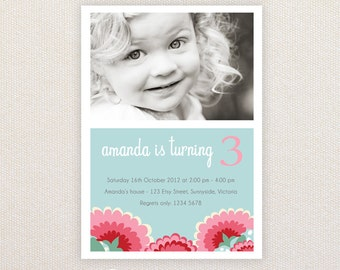 Photo Girls Birthday Party Invitations. I Customize, You Print.