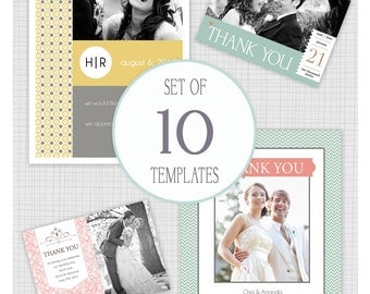 INSTANT DOWNLOAD: 10 PSD Wedding thank you card templates. Mini Pack 15.