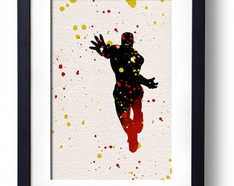 The Avengers movie poster art print Iron Man comic book art fan art wall decor home decor geek art