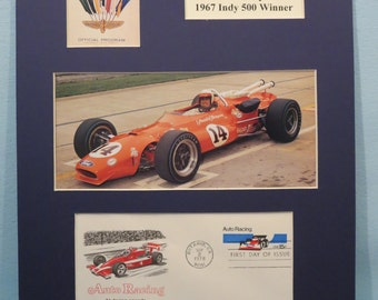 Auto Racing Great A.J. Foyt Wins the 1967 Indy 500 & First day Cover in honor of Auto Racing