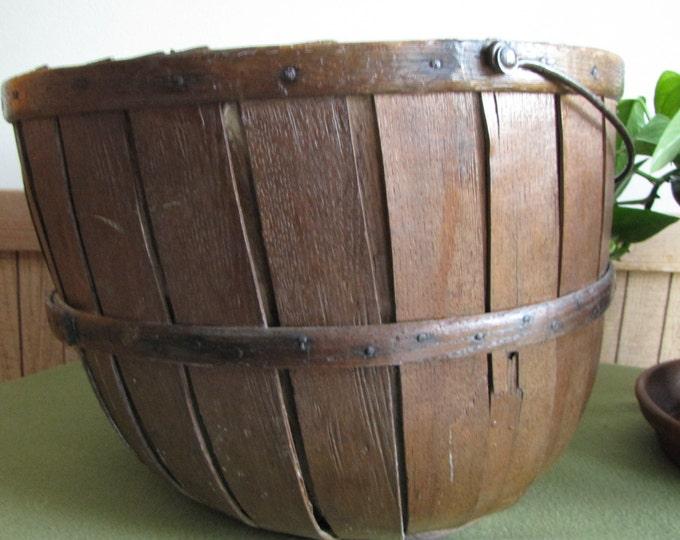 Vintage Oak Orchard Basket circa 1920s Apple Gathering Trug