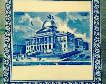 Boston State House Tile by Wedgwood, Trivet, Vintage Blue and White
