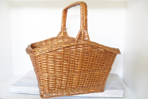 Vintage Picnic Basket - Wicker Woven Basket - Large Orchard Basket - Gathering Basket - Vintage Wicker Basket - Flower Basket - 1950s