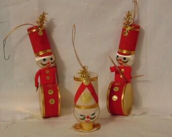 Christmas Trio 3  Ornaments, Felt Christmas Ornaments ,Drummer Boys ,MIJ, Great Gift,         BQ