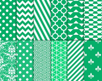 """Green digital paper: """"GREEN PATTERNS"""" with green backgrounds in polkadots, chevron, stripes, quatrefoil, damask, triangles"""