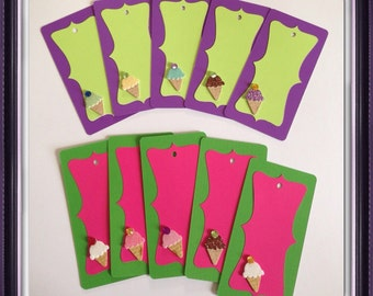 Ice cream cone gift birthday tags